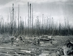 Building a corduroy road along the Alaska Highway. Courtesy of the Fort St. John North Peace Museum