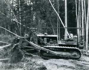 Bulldozing a path for the Alaska Highway. - Courtesy of the Fort St. John North Peace Museum