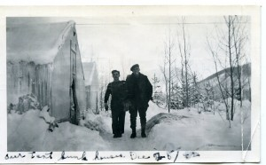 Tent bunkhouses in the snow at Mile 138 Camp in 1942.  Courtesy of the Fort St. John North Peace Museum