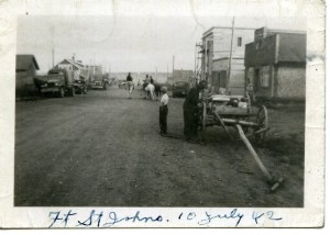 Fort St. John in 1942. Note the Army trucks alongside farm wagons and vehicles. Courtesy of the Fort St. John North Peace Museum