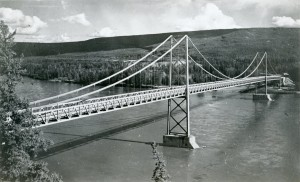 Peace River Suspension Bridge in 1943. Courtesy of the Fort St. John North Peace Museum