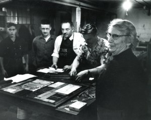 Ma Murray and her printing crew at the Alaska Highway News Office. Courtesy of the Fort St. John North Peace Museum