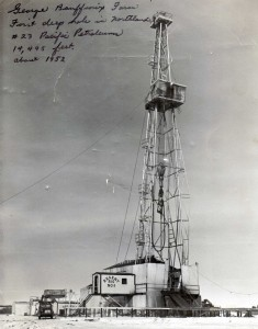 Oil derricks quickly dotted the region. This is the derrick on George Bouffioux's farm in 1952. Courtesy of the Fort St. John North Peace Museum