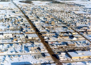 Aerial view of the City of Fort St. John in 1979. Courtesy of the Fort St. John North Peace Museum