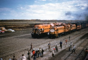 Crowds greet the first PGE Train in Fort St. John. Courtesy of the Fort St. John North Peace Museum